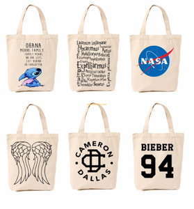 SHENZHOU manufacturer custom cotton personal canvas material organic cute shopping tote cloth bags for printing
