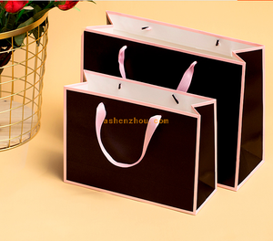 Wholesale custom beautiful printing reusable luxury brand paper bag for packing shopping gift