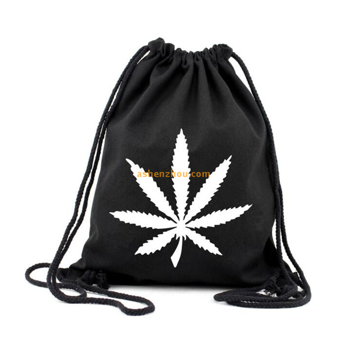 Good material custom design cool black canvas drawstring shopping bags with cheap price for material wholesale