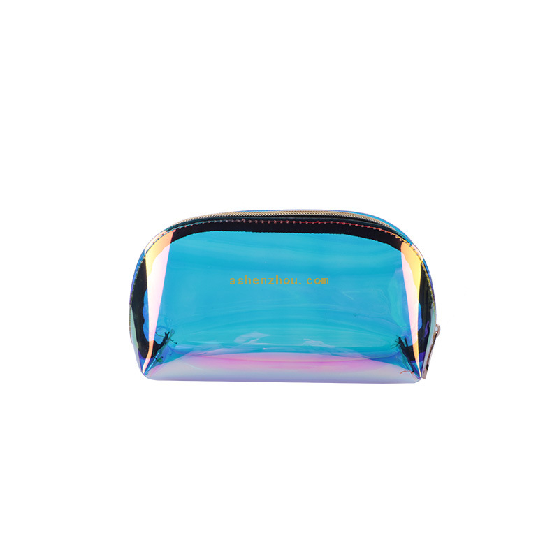 Newest design custom clear pvc laser makeup bag transparent travel beauty toiletry pouch clear holographic bag
