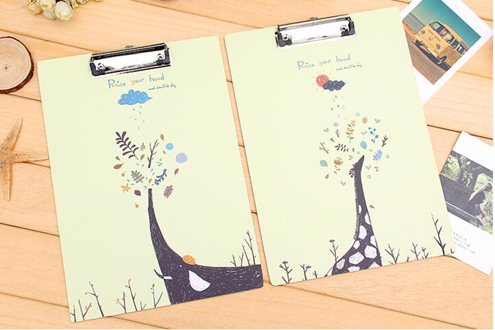 Eco-friendly useful wholesale custom art painting cartoon notebook clipboard wooden hard clipboard, cute clipboards with storage