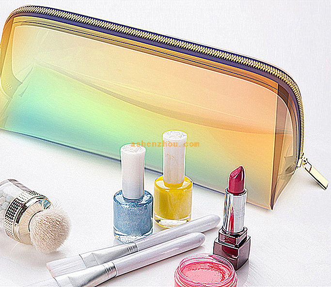 Wholesale high quality custom rainbow laser PVC hologram travel toiletry bags fashion make up clear cosmetic bag transparent