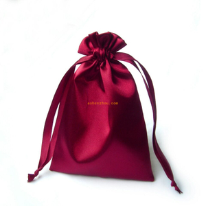 Stylish design custom logo silk lingerie pouch bag with satin ribbon