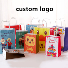 Latest style high quality custom printed folding promotional paper bag oem cartoon paper candy gift bag
