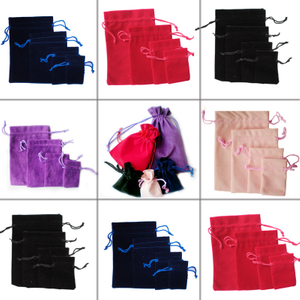 Factory wholesale velvet jewelry pouches custom printed velvet lined gift cord boxs for personalized creative gift jewelry pouches