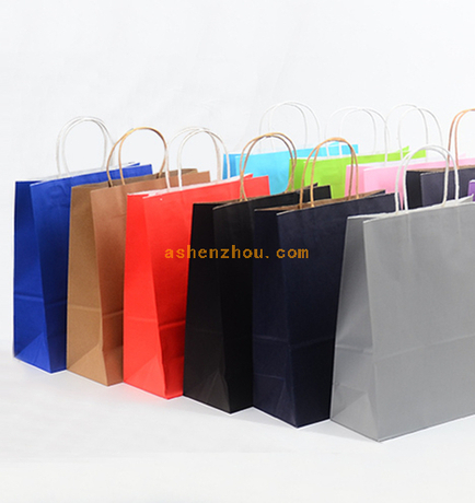 Promotional factory wholesale eco craft kraft paper bags custom shopping paper bag with twisted handle packing for shoe gift